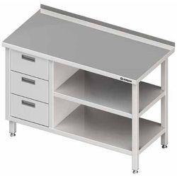 Stół przyścienny z blokiem trzech szuflad po lewej stronie i dwiema półkami 1400x600x850 mm | STALGAST, 980406140