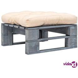 vidaXL Ogrodowe siedzisko z palet, piaskowa poduszka, szare drewno FSC Darmowa wysyłka i zwroty