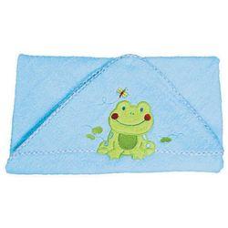 Okrycie kąpielowe z kapturem 100x100 cm BabyOno, niebieskie z żabką - niebieski / żabka