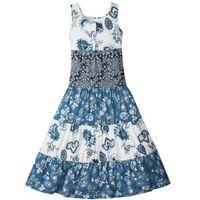 Sukienki dziecięce, Letnia sukienka, dł. do kostki bonprix biel wełny - niebieski dżins - ciemnoniebieski