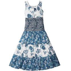 Letnia sukienka, dł. do kostki bonprix biel wełny - niebieski dżins - ciemnoniebieski