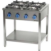 Piece i płyty grzejne gastronomiczne, Kuchnia gazowa wolnostojąca z półką 24,5 kW STALGAST 999543