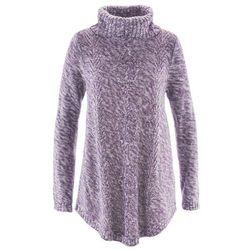 Sweter poncho, długi rękaw bonprix ciemny lila melanż