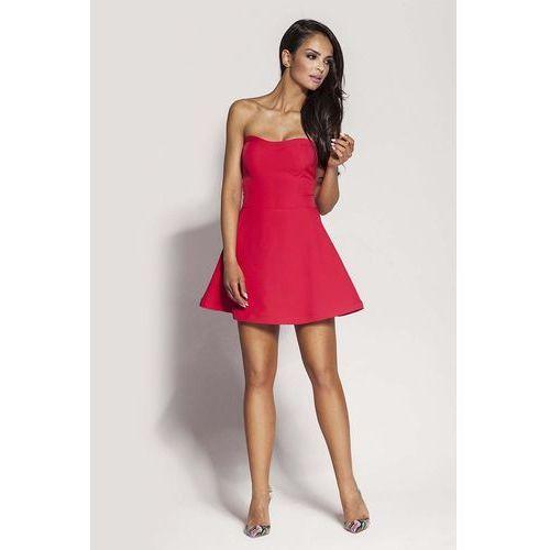 Suknie i sukienki, Malinowa Mini Sukienka z Odkrytymi Ramionami
