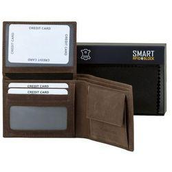 ✅ Bezpieczny Męski Portfel Na Karty Zbliżeniowe RFID Skórzany Brązowy - Brąz mat