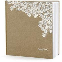 Księga gości weselnych brązowa z białym wzorem - wersja angielska - 22 kartki