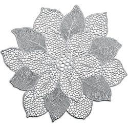 Srebrna podkładka koronkowa z kształcie kwiatka, podkładki pod talerze, podkładki na stół nowoczesne, podkładki na stół okrągłe, ZELLER