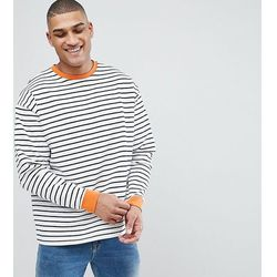 ASOS TALL Striped Oversized Sweatshirt In Black & White - Black