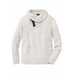 Sweter z szalowym kołnierzem bonprix beżowy