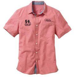 Koszula z krótkim rękawem Regular Fit bonprix koralowy w kratę