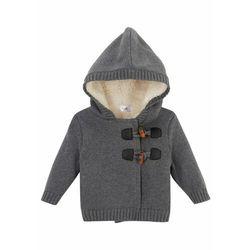 Sweter rozpinany niemowlęcy w warkocze bonprix szary melanż