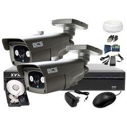 Zestaw do monitoringu: Rejestrator BCS-XVR0401+ 2x BCS-TQ4200IR3 - Dysk 1tB + Akcesoria