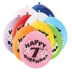 Balony pastelowe z nadrukiem siódemka 7 - mix - 23 cm - 10 szt.