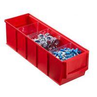 Pojemniki przemysłowe, Plastikowy pojemnik do regału Shelfpoj., 91 x 300 x 81 mm, czerwony