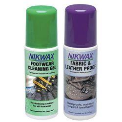 Zestaw NIKWAX 2x125ml/ żel czyszczący z gąbką + impregnat spray-on atomizer do obuwia tkanina i skóra