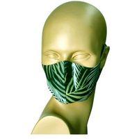 Maseczki ochronne, Maseczka na twarz wielorazowa z jonami srebra (liście) - czarny ||zielony