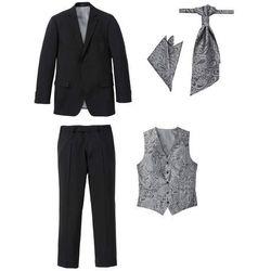 Garnitur 5-częściowy (marynarka, spodnie, kamizelka, krawat i chusteczka do butonierki) bonprix czarny