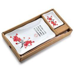 SUSHI Zestaw dla 1 os. biały+czerwone kwiaty