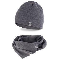 Zimowy komplet męski PaMaMi - czapka i szalik - Szary