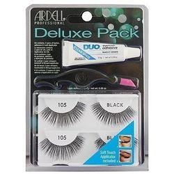Ardell deluxe pack 105 black, zestaw z sztucznymi rzęsami plus aplikator i klej