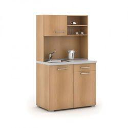 Kuchnia biurowa PRIMO, zlew, bateria, 1/2 drzwi, szary/buk