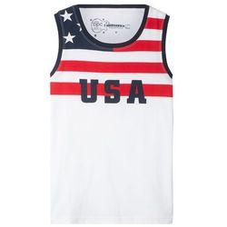 Koszulka bez rękawów bonprix biały z nadrukiem - Ameryka