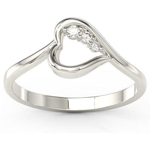 Pierścionki i obrączki, Pierścionek z białego złota z brylantami BP-82B - Białe \ Diament