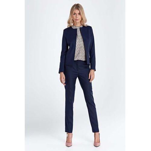 Spodnie damskie, Granatowe Klasyczne Długie Spodnie w Kant
