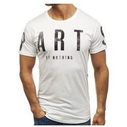 T-shirt męski z nadrukiem biały Denley 181167