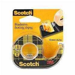 Taśma Scotch 136D dwustronnie klejąca, przezroczysta, na podajniku, 12mm x 6,3m