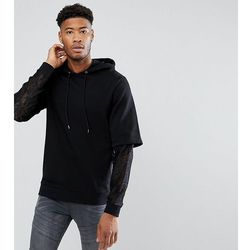 ASOS TALL Oversized Hoodie With Double Layer Lace Sleeve - Black