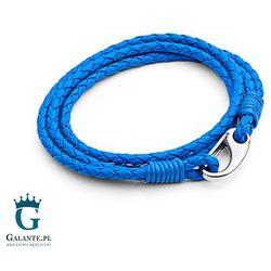 Niebieska bransoletka skórzana pleciona T758-2 Neonblue