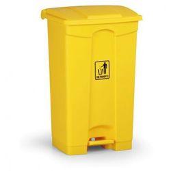 Kosz uniwersalny z pedałem 87 litrów, żółty
