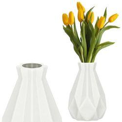 Wazon 20cm nietłukący na kwiaty do salonu, kuchni kremowy nowoczesny
