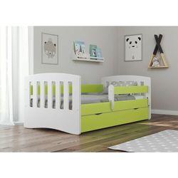 Łóżko dziecięce, barierka ochronna, classic, zielony, biały, mat