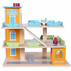 Drewniany tor-garaż z windą + autka