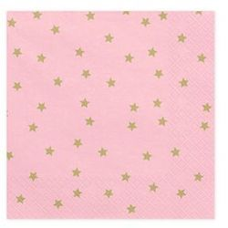 Serwetki urodzinowe różowe w złote gwiazdki - 33 cm - 20 szt.