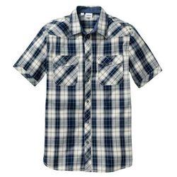 Koszula z krótkim rękawem Regular Fit bonprix naturalno-ciemnoniebieski w kratę