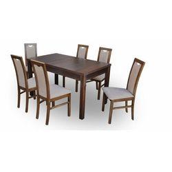 """Zestaw """"DIVA"""" stół + 6 krzeseł - jasny brąz"""