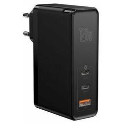 Baseus GaN2 Pro   Ładowarka sieciowa 2x Type-C 1x USB-A 120W Power Delivery 3.0 Quick Charge 4.0 Huawei SCP Samsung Fast Charge 2.0 + kabel 100W - Czarny