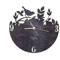 Zegary, Drewniany zegar na ścianę Ptaszek na gałązce ze złotymi wskazówkami Dekoracje drewniane na ścianę (-10%)