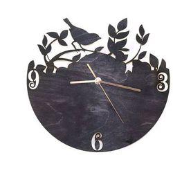 Drewniany zegar na ścianę Ptaszek na gałązce ze złotymi wskazówkami Dekoracje drewniane na ścianę (-10%)