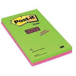 Karteczki POST-IT Super Sticky w linie (5845- SSUC), 125x200mm, 4x45 kart., neonowe
