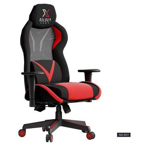 Fotele dla graczy, SELSEY Fotel gamingowy Regeo czarno - czerwony