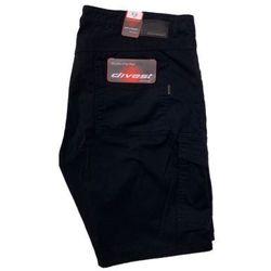 Spodnie materiałowe krótkie czarne model 040 114 Czarny Bawełna / Lycra
