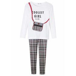 Shirt dziewczęcy z długim rękawem + legginsy (2 części), bawełna organiczna bonprix biało-szaro-jeżynowo-czarny