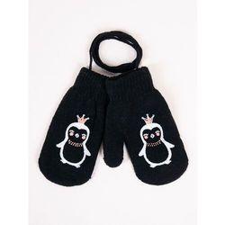 Rękawiczki dziecięce jednopalczaste ze sznurkiem czarne z pingwinem 12