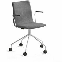 Krzesło konferencyjne OTTAWA, na kółkach, podłokietniki, szara tkanina, biały