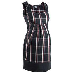 Sukienka ciążowa biznesowa, w kratę bonprix czarno-ciemnoczerwony w kratę
