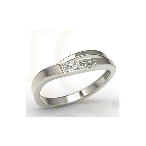 Pierścionki i obrączki, Pierścionek z białego złota z cyrkoniami LP-97B-C - Białe \ Cyrkonia